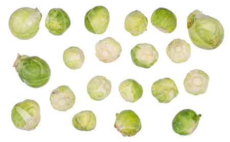 Brussels sprouts top view on a white background isolation