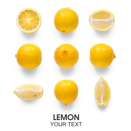 Seamless pattern with lemon on white background isolation