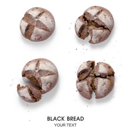 Set black bread computation pattern on white background isolation