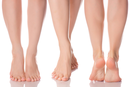 Set female feet legs  from different directions medicine beauty health on a white background isolation