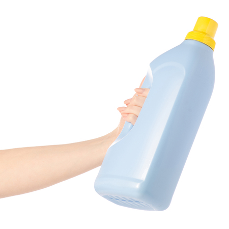 Plastic bottle for liquid laundry detergent in hand gel on a white background isolation