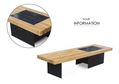 A bench with usb a charger for a phone on a white background isolated Banque d'images - 96623852