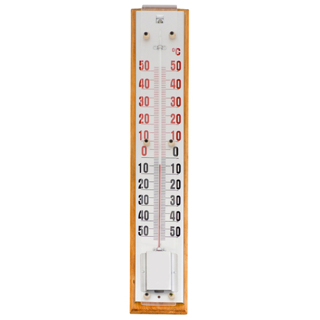 Street thermometer temperature on white background isolation