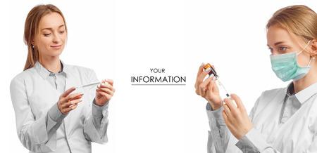 Ärztin im medizinischen Kleiderthermometer für gesetztes Muster der Körperspritzengesundheitsmedizin auf weißer Hintergrundisolierung