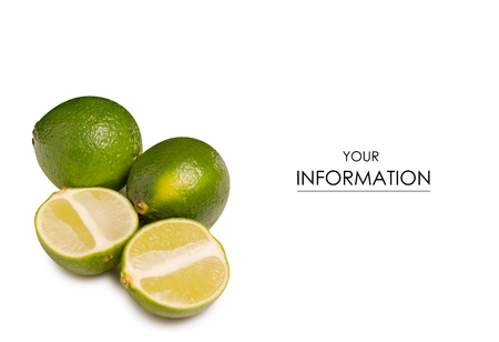 Limes green pattern on white background isolation