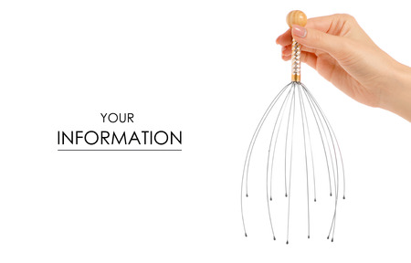 Massager for a head in a hand pattern on a white background isolation