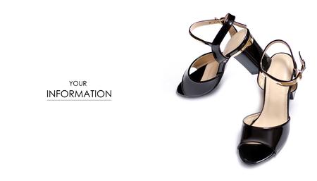 Black sandals shoes pattern on white background isolation