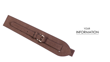 Brown belt classic pattern on white background isolation