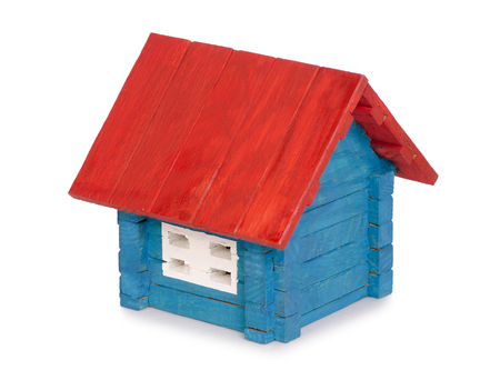 Wooden house small color on white background isolation