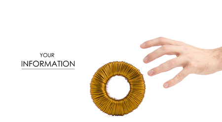 Transformer coil in hand pattern on white background isolation
