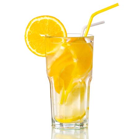 Glass lemonade lemon orange on white background isolation Stock Photo