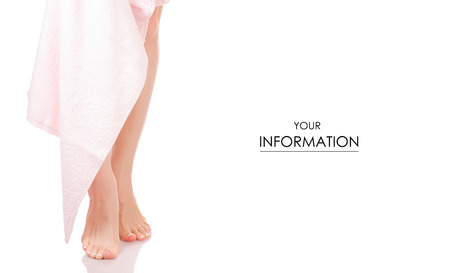 Female feet heel pink white bath towel beauty spa pattern on white background isolation Foto de archivo