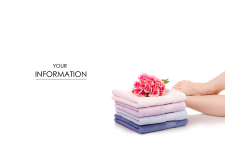 Female feet legs heels color bath towels flower beauty spa pattern on a white background isolation