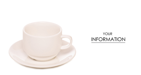 White cup and saucer pattern on white background isolation