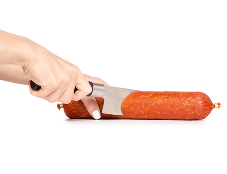A smoked sausage knife in hand on a white background isolation