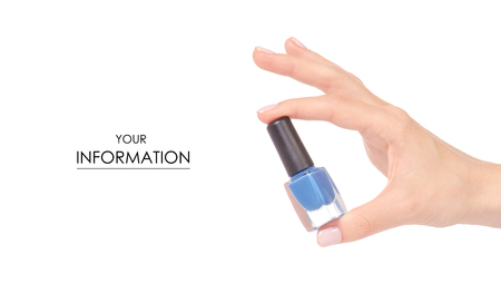 Blue nail polish in hand pattern on white background isolation Kho ảnh