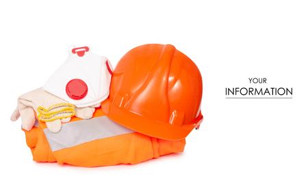 Working orange form helmet glove mask pattern on a white background isolation