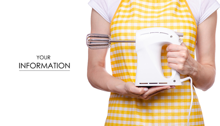 Woman in apron in hands of electric kitchen mixer pattern on white background isolation