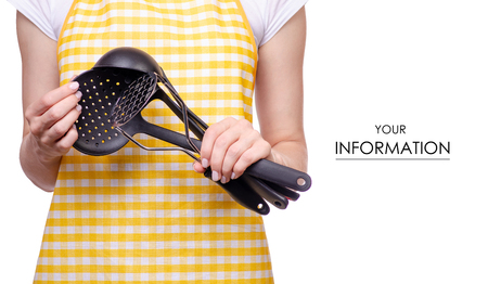 Woman in apron with kitchen tools in hands pattern on white background isolation