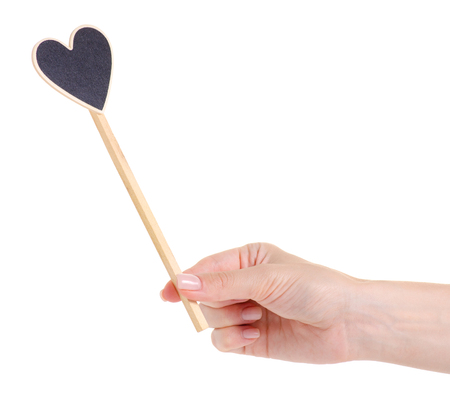 Wooden heart on stick decor on white background isolation 写真素材