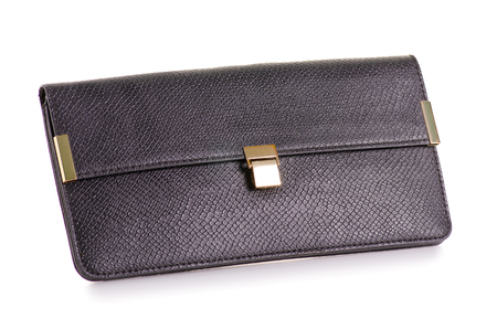 Black leather female bag clutch on white background isolation