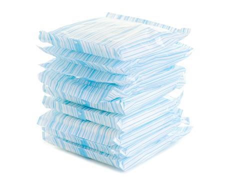 Female hygiene napkins menstruation on white background isolation Stock Photo