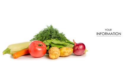 Greens vegetables zucchini tomato potatoes pattern on a white background isolation Stock Photo
