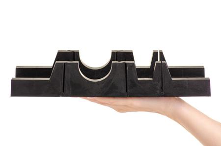 Plastic black miterbox on white background isolation