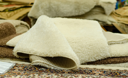 Carpets samples in the store texture interior floor textile