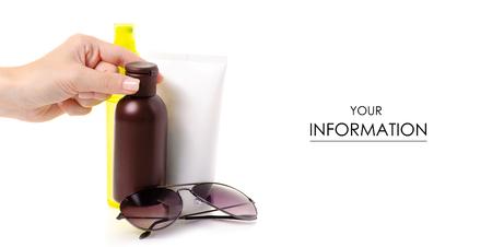 Cream oil spray for suntan sun glasses hand pattern on white background isolation