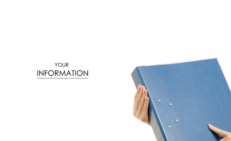 Clerical folder in a female hands pattern on a white background isolation folder registrar