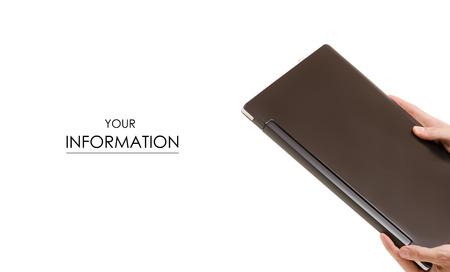 Male hands black folder pattern on white background isolation Фото со стока