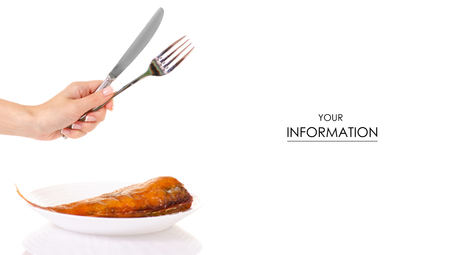 Smoked fish perch on white plate in hands fork and knife pattern on white background isolation