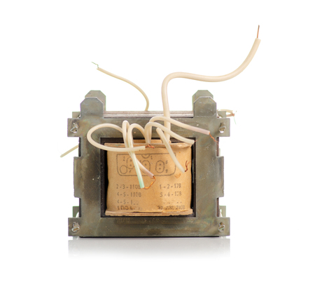 Electrical transformer power on white background isolation