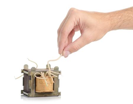 Electrical transformer power in hand on white background isolation Reklamní fotografie