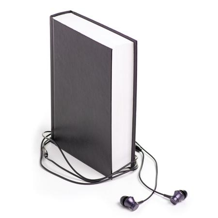 Books headphones education on white background isolation