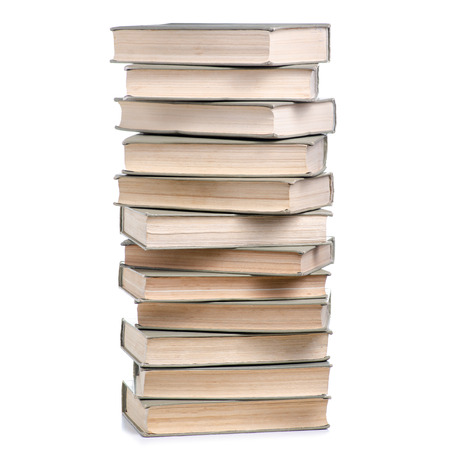 Stack of books on a white background isolation