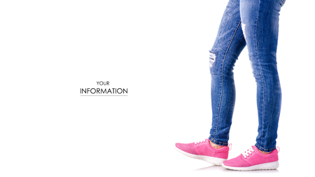 Woman denim sneakers pattern on white background isolation