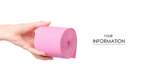Toilet paper pink in hand pattern on white background isolation Foto de archivo