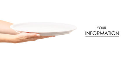 White dish empty in hand pattern on white background isolation