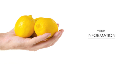 Lemons in hand pattern on a white background isolation Stockfoto