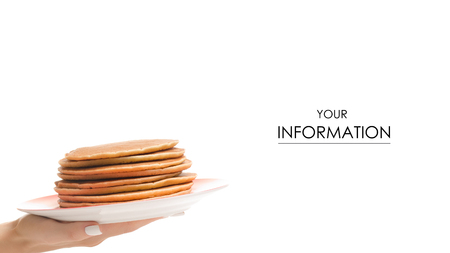 Female hand holding pancakes on a plate pattern isolated on white background.