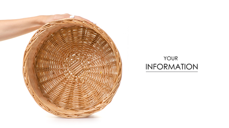 Wicker basket empty in hand pattern isolated on a white background. Banco de Imagens