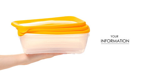 Plastic food container in hand isolated on white background. Фото со стока