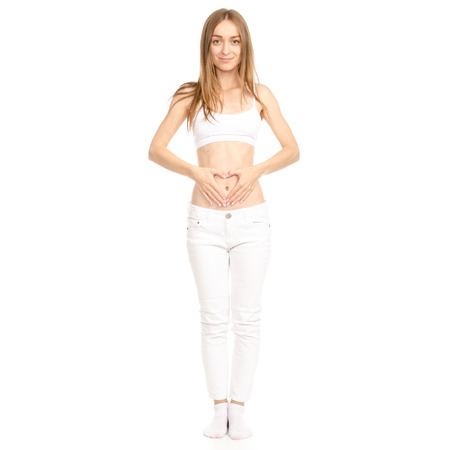 Vrouw buik hart geïsoleerd op een witte achtergrond. Stockfoto