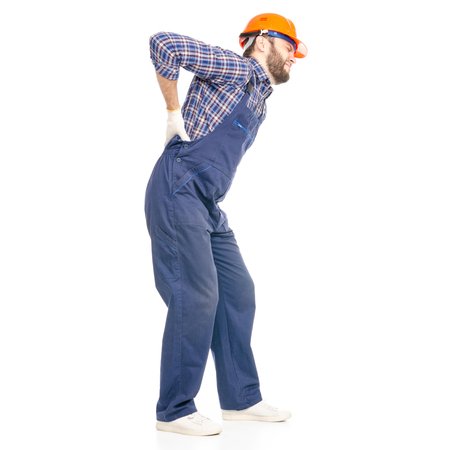 Young man builder industry worker hardhat pain back isolated on a white background.