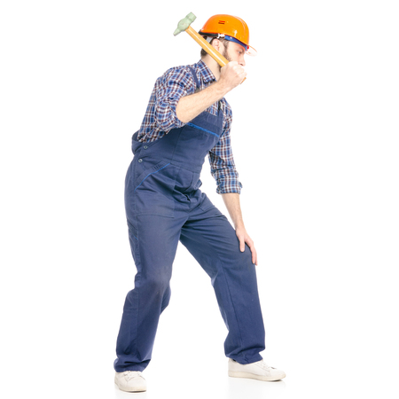 Young man builder industry worker hardhat with a hammer isolated on white background.