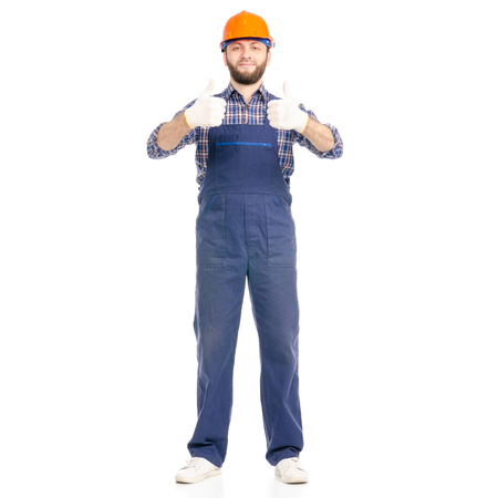 Young man builder industry worker hardhat good okay isolated on white background. Reklamní fotografie