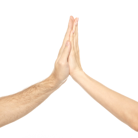 Couple hands give five on white background isolation