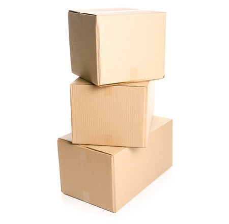 Boxes delivery package isolated on a white background. Banque d'images